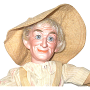 10 Inch 1896 Bisque Head Farmer Portrait Doll by Cuno and Otto Dressel All Original