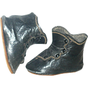 Victorian 3 Inch Black Kid 4 Button Flat Sole Doll Boots