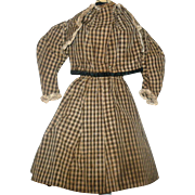 10th Century 2 Piece Brown Check Home Spun Linen Costume for China or Papier Mache Doll