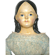 21.5 Inch 1840-1850 Papier-mache Shoulder Head Child Doll with Long Ringlet and Exposed Ears