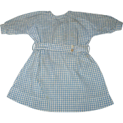 Old Hand Stitched Blue Check  Homespun Self Belted Dress for Papier-mache  or China Doll