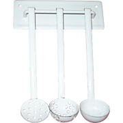 Old Toy White Graniteware Hanging Rack with Matching Ladle and 2 Strainers