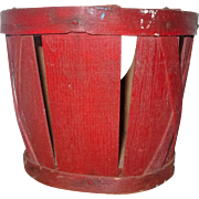 5.5 Inch New Jersey 19th Century Splint Berry Basket Thick Bottom and Top Nailed Rim Old Red Paint
