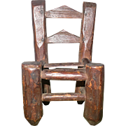 4 Inch 19th Century Primitive North Carolina Miniature Slat Back Chair