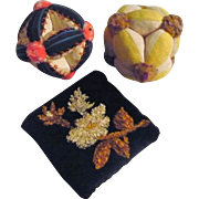 3 Vintage Lancaster County Pennsylvania Pincushions 2 Puzzle Balls 1 Chenille Embroidered Velvet