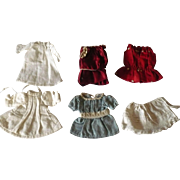 Hand Sewn 5 Piece Wardrobe for All Bisque Doll 4 Dresses and a Night Gown