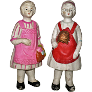 Two 5.25 Inch Made in Japan Immobile 1920's Ladies with Aprons