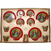 Fine 1930's Ohio Art 14 Piece Little Red Riding Hood and Wolf Tin Dishes in Original Printed Box