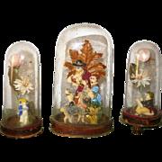 3 Victorian Valentine Whimsy Vignettes Glass Domes