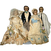 1840-50 English Poured Wax 4 Doll Victorian Wedding Party Original Costumes