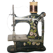 Old 6 Inch Floral Painted Metal Working German Toy Sewing Machine