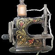 Old 5 Inch German Metal Working Toy Sewing Machine Trumpet Vine Design