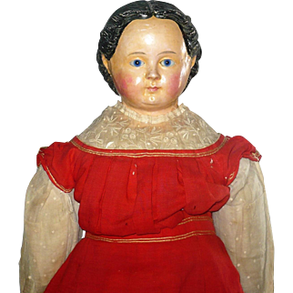 34 Inch 1850 Papier-Mache Blue Glass Eyes Greiner Hairdo Linen Body Claw Hands