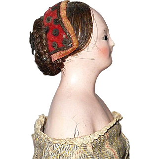 12 Inch 1830's Milliner Model Braided Wig Glass Eyes Green Carved Slippers Paper Arm Bands
