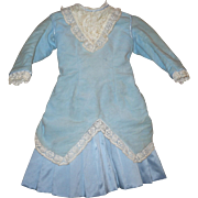 Vintage 6 Piece Large Bebe Bustle Back Jacket Costume with Bonnet Lenore Blue Leather Shoes Under's