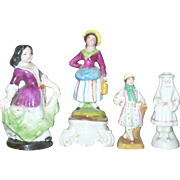 4 Miniature China and Bisque Figures for Doll House or Doll Display