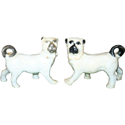 Two 1890's Staffordshire 3 Inch Left and Right Facing Brindle Pugs