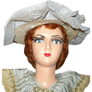 30 Inch 1920 Composition SH Boudoir Doll Original Wig Lashes Auburn Gown and Shoes