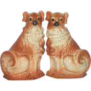 12.75 Inch PR of 1890's Staffordshire Collies  with Glass Eyes