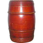 4 Inch 19th Century Barrel Shape Turned Treen Bank Original Finish