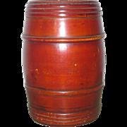 4 Inch 19th Century Barrel Shape Turned Treen Bank Original Finish