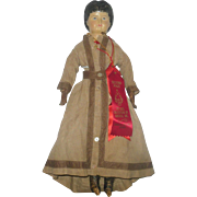 "Fine 18"" American Muslin Lined Papier-mache Doll Original Linen Body and Costume 2 Exhibitor Ribbons"