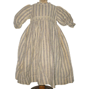 15 Inch Long 19th Century Brown Stripe Wool Flannel Dress for China or Papier-mache Doll