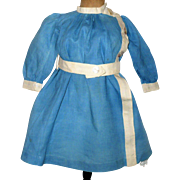 Edwardian Blue Linen School Dress for Schoenhut or Toddler Doll