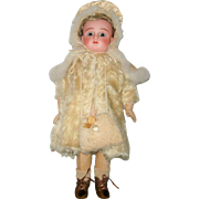 Lined Champagne Satin Hooded Cape Swan's Down Trim for Small Antique Doll