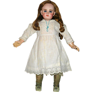 "12"" Hand Stitched White Linen Doll Dress White Work Trim"