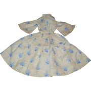 Mid 19th Century Resist Printed Blue on Ivory Linen Dress for China or  Milliner