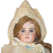 Cream Brushed Cotton Peaked Bonnet for French or German Child Doll