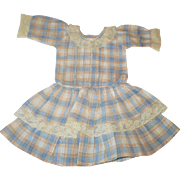 Hand Stitched Blue Ivory Gold Plaid Linen Dress Tiered Skirt Feather stitched