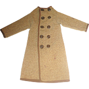 Hand Stitched Double Breasted Brushed Brown Linen Coat for China Papier-Mache Man