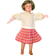 "Old Hand Stitched Over Blouse & Pleated Skirt for 14""-15"" Child Doll"
