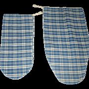 2 PA Indigo Blue Plaid Homespun Ladies Seed Bags