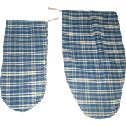2 PA Indigo Blue Plaid Homespun Ladies Seed Bags