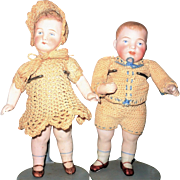 "6.5"" All Bisque German Character Swivel  Neck Girl and Stiff Neck Boy"