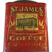 Circa 1900 5 Lb Red Lithograped  St James Coffee Tin Bail Handle Gimbels
