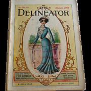 March 1901 Delineator Magazine Fashion Prints Color Black and White