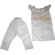 19th C Hand Stitched Homespun Linen Pantaloons and Chemise for China, Papier-mache or Fashion
