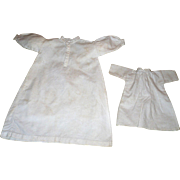 "13.5 Inch 19th C Hand Stitched Homespun Linen Night Shirt for Cjina or Fashion + 7.5"" Shift"