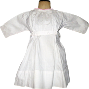 Antique Hand Stitched Ivory Linen School Dress for Character Doll with Back Bow Tie