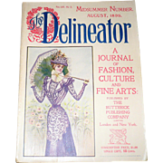 August 1899 The Delineator with Fashion Prints Sporting Costumes Articles Adverising