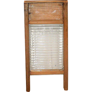 "Child Size Salesman Sample ""Crystal"" Glass Wash Board Wood Frame"
