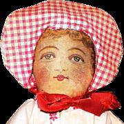 13 Inch 1901 Patent Bruckner Flat Face Cloth Maiden in Sun Bonnet