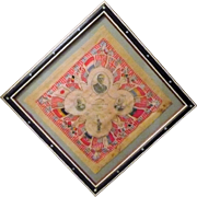 WWI Patriotic Silk Souvenir of France Folk Art Frame Wilson Washington Allied Flags