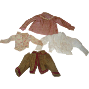 Four 19th Century Hand Stitched Doll Bodices