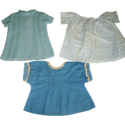 3 Vintage 1930's Doll Dresses and 2 Doll Coats