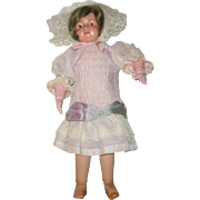 Vintage Lace Trimmed Pink Bebe Dress for 13 or 14 Inch Doll and Bonnet